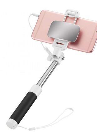 Монопод для селфи (селфи-палка, штатив) с кабелем и зеркалом Hoco