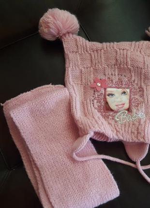 Стильный набор шапка и шарф для девочки 3 года