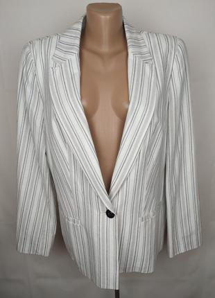Пиджак жакет льняной красивый в полоску uk 16/44/xl