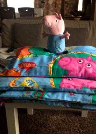Набор для детской кроватки свинка джордж постельное белье, под...