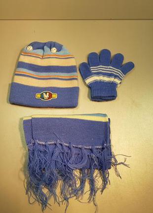 Детский набор: шапка, шарф, перчатки