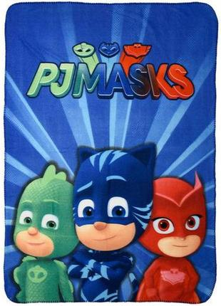 Детский флисовый плед герои в масках кэтбой, совка, гекко 100х...
