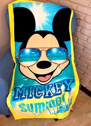 Детское пляжное полотенце disney микки маус, 100% хлопок 70х14...
