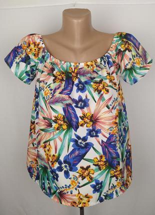 Блуза новая легкая в тропический принт primark uk 12/40/m