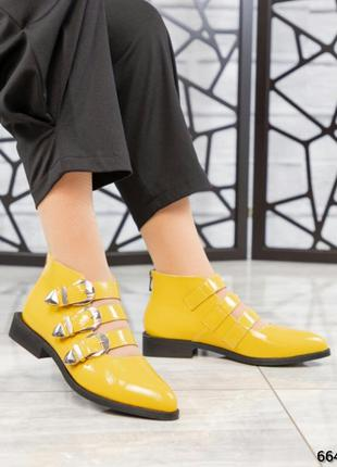 ❤ женские желтые весенние демисезонные кожаные ботинки на байке ❤