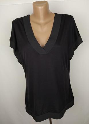 Блуза футболка базовая оригинальная v-образный вырез zara uk 1...
