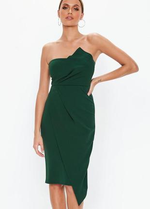 Вечернее коктейльное облегающее платье миди бюстье бандо в изу...