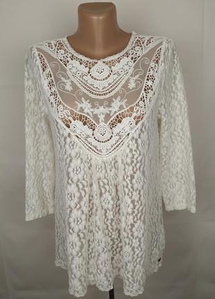 Блуза шикарная кружево гипюр h&m uk 12/40/m