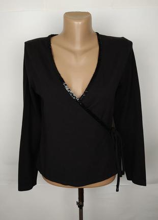 Блуза трикотажная красивая на запах с паетками laura ashley uk...