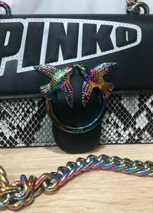 Сумка пинко рептилия  pinko mini в коробке радужная фурнитура