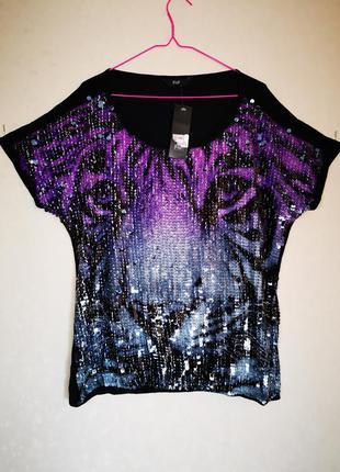Невероятно красивая блуза футболка пайетки перевёртыши f&f батал
