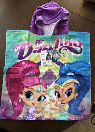 Пляжное полотенце-пончо с капюшоном шиммер и шайн для девочки ...
