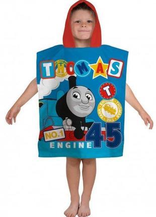 Пляжное полотенце пончо с капюшоном паровоз томас для мальчика...
