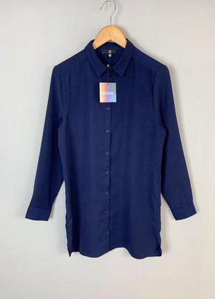 #розвантажуюсь  темно-синее легкое прямое платье-рубашка missg...