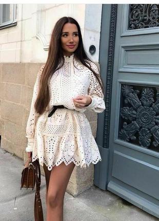 Платье туника с вышивкой ришелье h&m trend