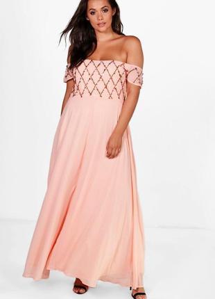 Нежное персиковое вечернее выпускное шифоновое платье макси откры