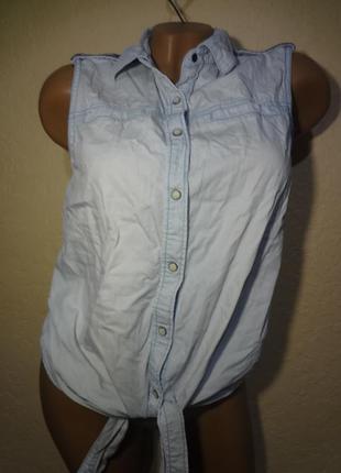 Рубашка безрукавка ковбойка anti blue размер s