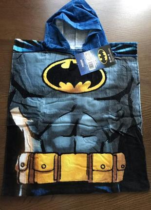 Пляжное полотенце-пончо с капюшоном бэтмен для мальчика 2-6 лет