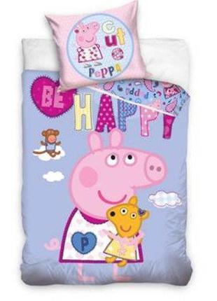 Детское постельное белье полуторный комплект свинка пеппа - дл...