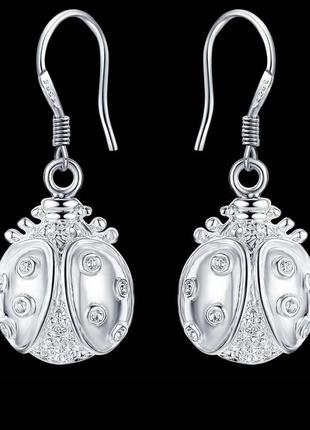 🏵посеребрённые серьги в серебре 925 божьи коровки, новые! арт....