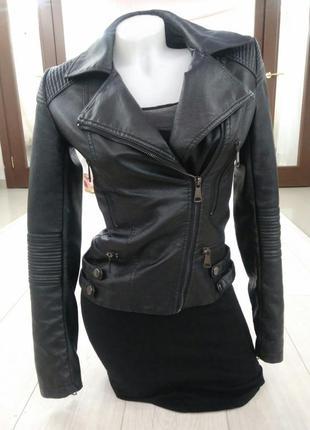 Нереально крутая стильная косуха куртка кожаная