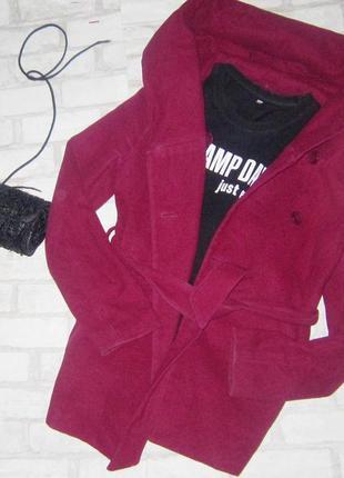 Шикарное пальто бойфренд, с капюшоном , пояс в комплекте