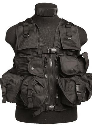 Разгрузочный жилет тактический MIL-TEC 9 карманов Черный