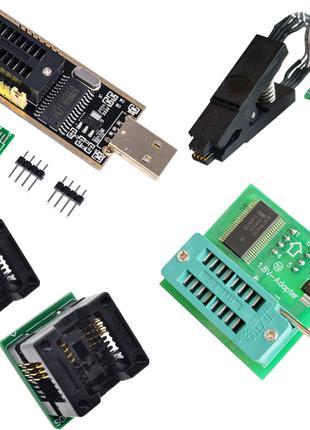 USB программатор CH341A + адаптеры 150mil, 200mil, 1.8v, прищепка