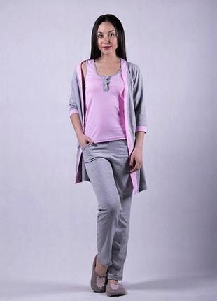 Пижама и халат, комплект домашний женский.
