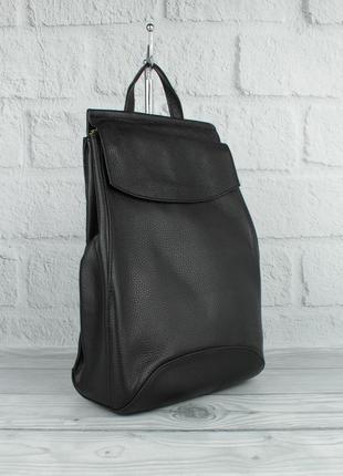 Кожаный городской рюкзак-сумка valensiy 83003 черный, трансформер