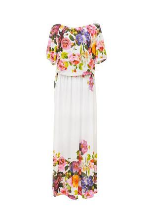Красивое платье в пол pion большого размера. белое.
