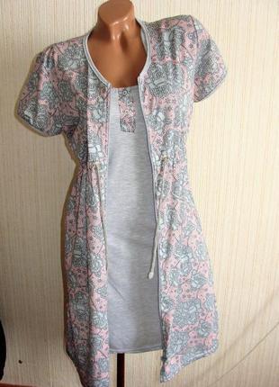 Халат и ночная, комплект женской домашней одежды.