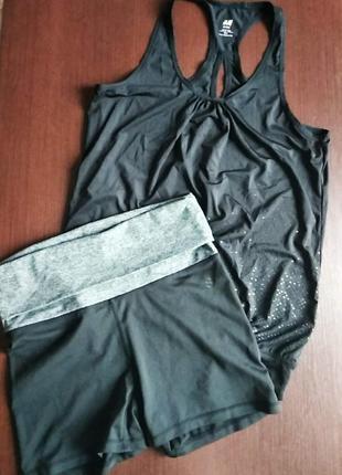 Комплект h&m майка и шорты спортивный,одежда для фитнеса