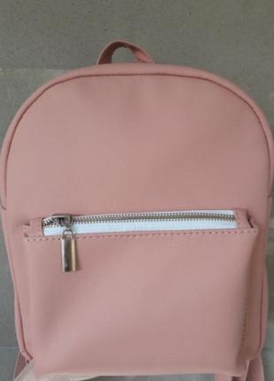 Рюкзак нежно-розовый из экокожи