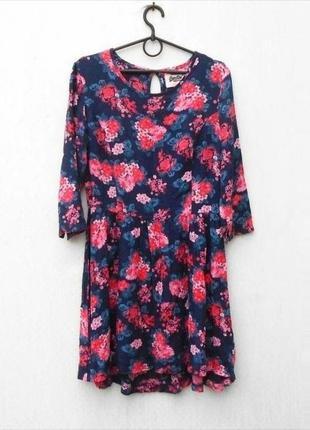Летнее платье в цветочный принт с рукавом 3/4 из вискозы 🌿