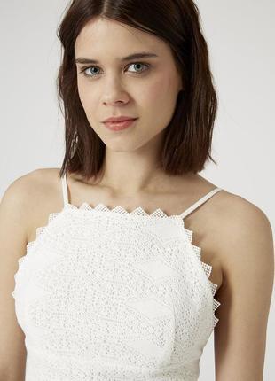 Ажурный топ topshop petite crochet high neck top
