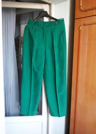 Роскошные эксклюзивные зауженные шелковые брюки высокая посадк...