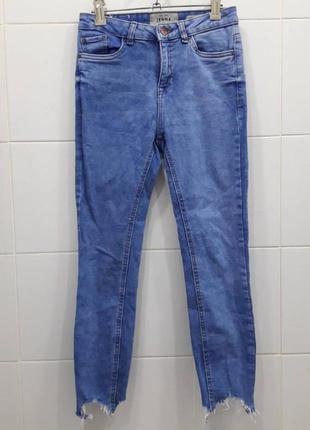 Шикарные голубые джинсы скинни на высокой посадке с рваными шт...