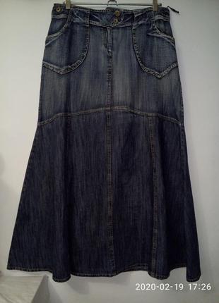 Джинсовая юбка макси а-силуэт