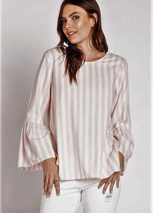 Коттоновая блуза в полоску с рукавом-воланом💞