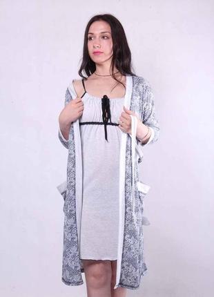 Халат и ночная рубашка для кормления и в роддом, комплект