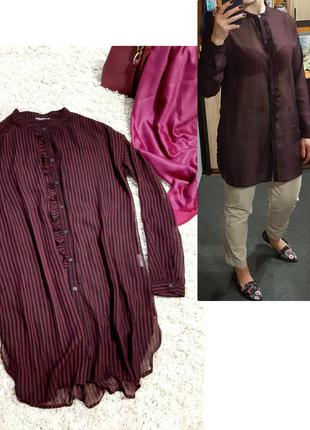 Стильная шифоновая удлиненная блуза/туника полосатая,p. m-l