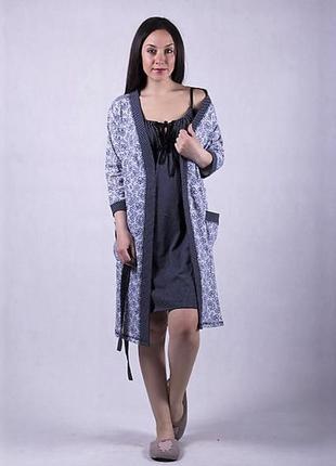 Комплект халат и ночная рубашка для кормления
