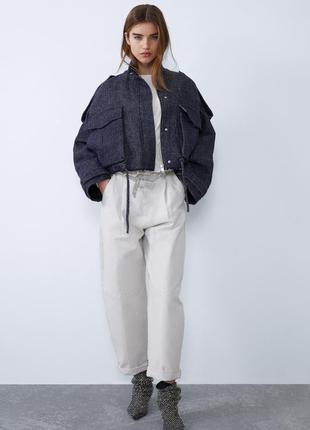 Оригинальная твидовая куртка бомбер оверсайз zara