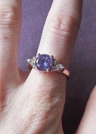 🏵 позолоченное кольцо с фианитом аметист, 18 р., новое! арт. 3499