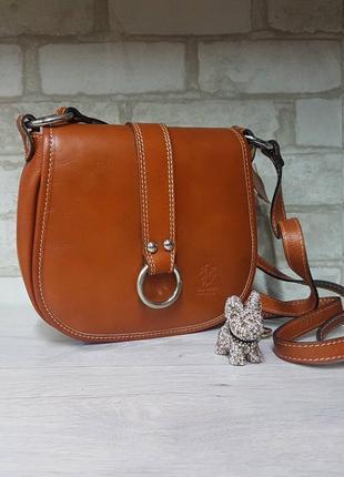 Рыжая  кожаная сумка крос боди италия