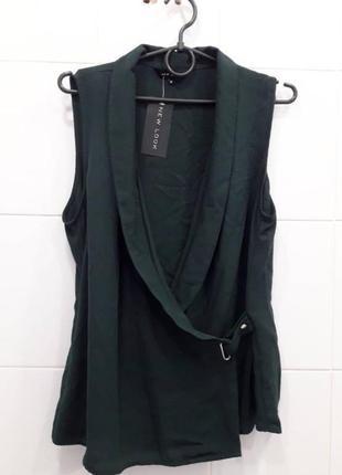 Шикарная изумрудная блуза на запах