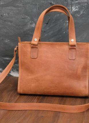 Кожаная женская сумка большого размера