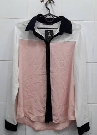 Нежная комбинированная блуза рубашка