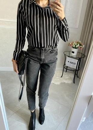 Рубашка женская черная в полоску